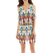 Bisou Bisou® Short-Sleeve Open-Shoulder Blouson Dress