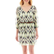 by&by 3/4-Sleeve Belted Print Dress