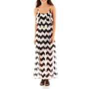 Heart & Soul® Ruffled Chevron Maxi Dress