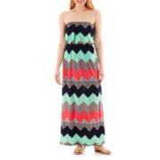 Trixxi® Strapless Chevron Print Maxi Dress