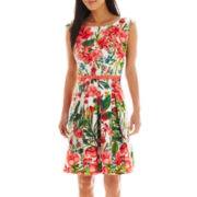 Danny & Nicole® Sleeveless Belted Floral Print Dress