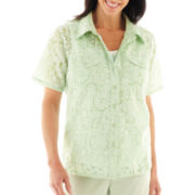 Alfred Dunner® Garden District Floral Burnout Layered Top - Plus