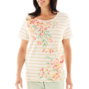Alfred Dunner® Garden District Asymmetrical Floral Stripe Top