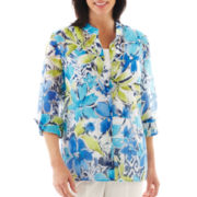 Alfred Dunner® Isle of Capri Print Burnout Layered Top