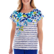 Alfred Dunner® Isle of Capri Striped Floral Top - Petite