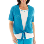 Alfred Dunner® Isle of Capri Crochet Layered Top - Petite
