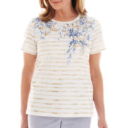 Alfred Dunner® Shore Thing Shell Print Striped Top