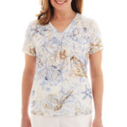 Alfred Dunner® Shore Thing Seashell Burnout Print Top