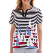 Alfred Dunner® Santa Monica Striped Sailboat Print Knit Top