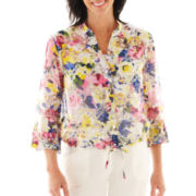 Lark Lane® Color Theory Floral Print Burnout Blouse