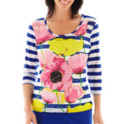 Lark Lane® Color Theory Striped Floral Knit Top with Tank Top