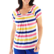 Lark Lane® Color Theory Striped Peasant Top