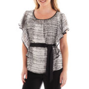 Alyx® Flutter-Sleeve Tie-Waist Blouse - Plus