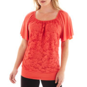 Alyx® Flutter-Sleeve Lace Blouse - Plus