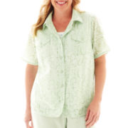Alfred Dunner Garden District Floral Burnout Layered Top - Plus