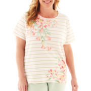 Alfred Dunner Garden District Asymmetrical Floral Striped Top - Plus
