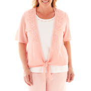 Alfred Dunner® Garden District Crochet Tie-Front Layered Sweater - Plus