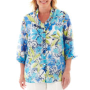 Alfred Dunner® Isle of Capri Floral Burnout Layered Shirt - Plus