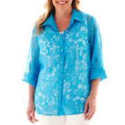 Alfred Dunner® Isle of Capri Solid Burnout Layered Shirt - Plus