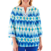 Alfred Dunner® Isle of Capri Ikat Print Tunic Top - Plus