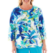 Alfred Dunner® Isle of Capri Tropical Parrot Top - Plus