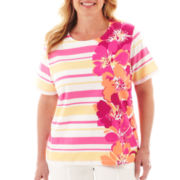 Alfred Dunner® Classics Striped Floral Knit Top - Plus