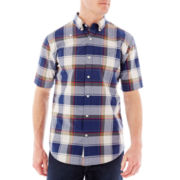 St. John's Bay® Short-Sleeve Plaid Poplin Shirt