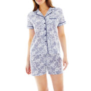 Liz Claiborne Short-Sleeve Shirt and Shorts Cotton Pajama Set