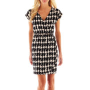 Corey Page Sleeveless Houndstooth Faux-Wrap Dress