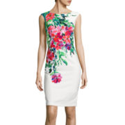 Danny & Nicole® Sleeveless Placed Floral Print Sheath Dress
