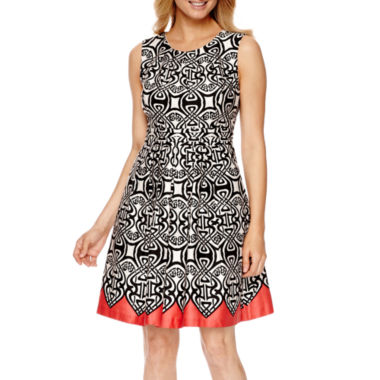jcpenney.com | Robbie Bee® Sleeveless Abstract Print Fit-and-Flare Dress
