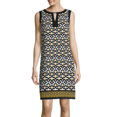 jcpenney.com | London Style Collection Sleeveless Geo Print Bar-Neck Shift Dress