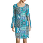 Ronni Nicole Bell-Sleeve Tile Print Shift Dress