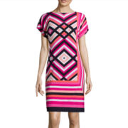 Studio 1® Short-Sleeve Geo-Print Shift Dress