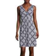 St. John's Bay® Sleeveless Medallion-Print Surplice-Pleat Dress