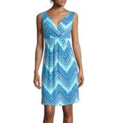 St. John's Bay® Sleeveless Chevron Print Surplice-Pleat Dress