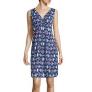 St. John's Bay® Sleeveless Print Surplice-Pleat Dress