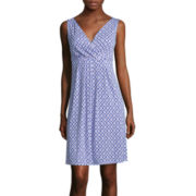 St. John's Bay® Sleeveless Diamond-Print Surplice Pleat Dress