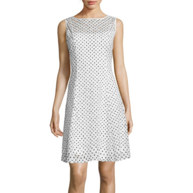 jcpenney.com | Ronni Nicole Sleeveless Fit-and-Flare Dress with Dot Print Circle Lace