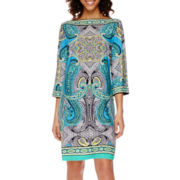 Studio 1® 3/4-Sleeve Paisley Print Shift Dress