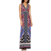 Studio 1® Sleeveless Surplice Neck Print Maxi Dress