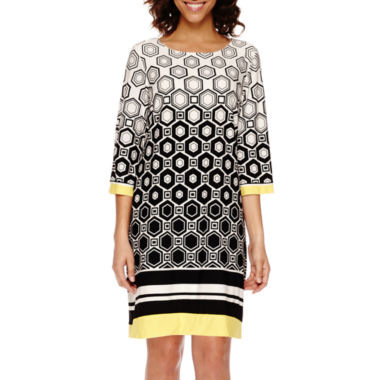 jcpenney.com | Studio 1® 3/4-Sleeve Geo Print Shift Dress