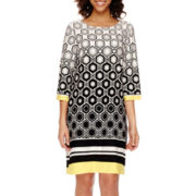 Studio 1® 3/4-Sleeve Geo Print Shift Dress
