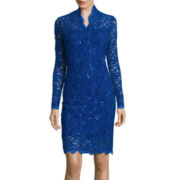 Blu Sage Long-Sleeve Sequined Lace Sheath Dress