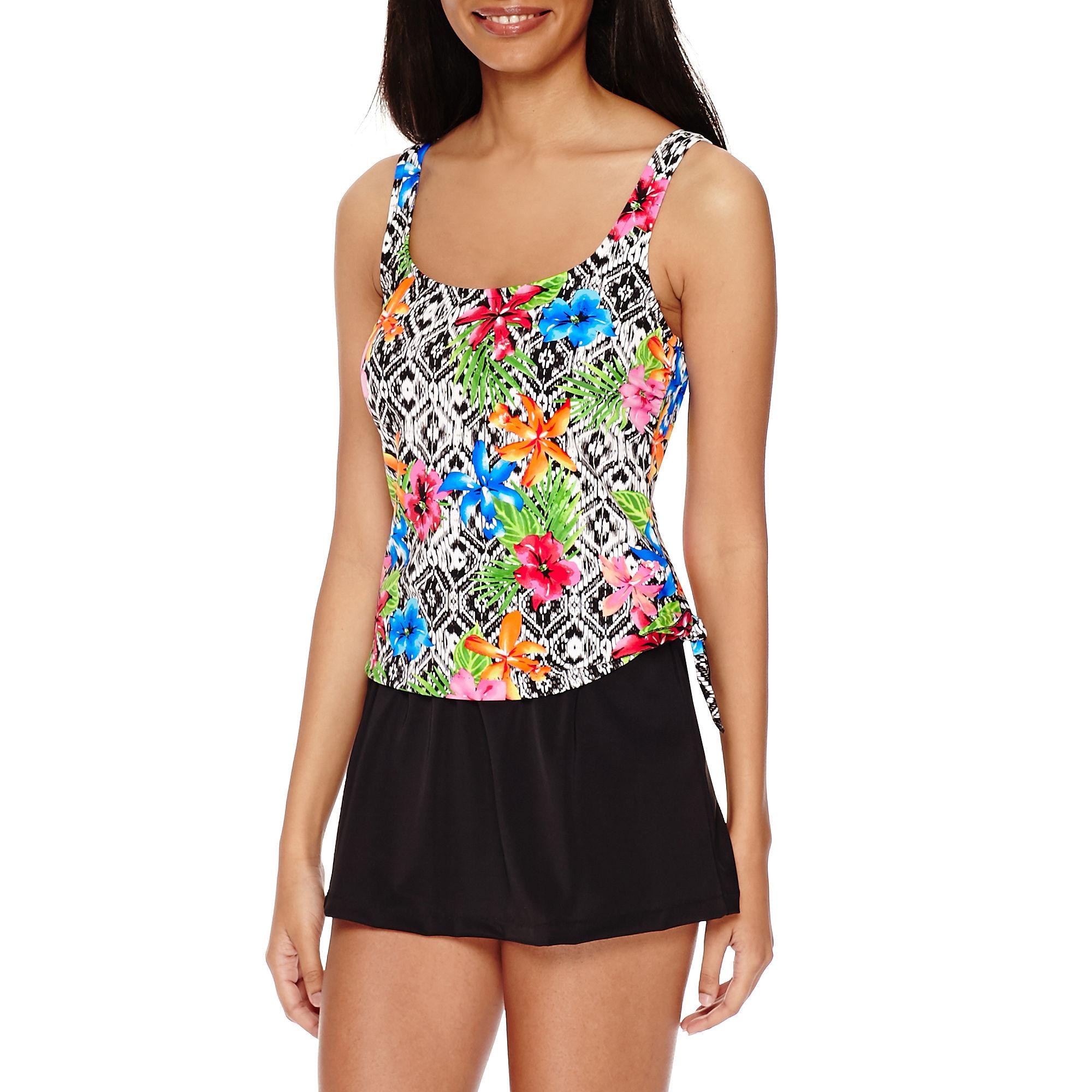 Azul by Maxine Of Hollywood Tropi-Call Me Faux-Skirtini Swimdress plus size,  plus size fashion plus size appare