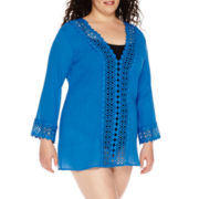 Raviya Long-Sleeve Crochet-Trim Gauze Tunic Swim Cover-Up - Plus