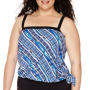 Azul By Maxine Of Hollywood® Stripe It Or Not Bandeau Blouson Tankini Swim Top - Plus