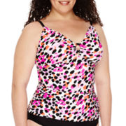 St. John's Bay® Painted Animal Tankini Swim Top - Plus