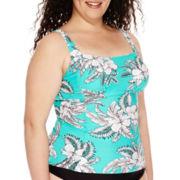 St. John's Bay® Retro Hibiscus Tankini Swim Top - Plus