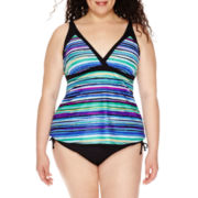Jamaica Bay® Striped Framed V-Neck Tankini Swim Top or Swim Bottoms - Plus